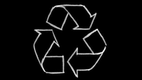 recycle symbol drawn on black chalkboard, footage ideal for representing ecology Footage