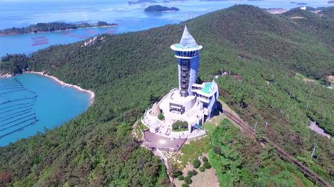 Aerial View of Ttangkkeut Observatory, Haenam, Jeollanamdo, South Korea Footage