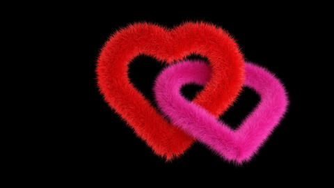 Red, pink hearts rotates on black with alpha matte Animation
