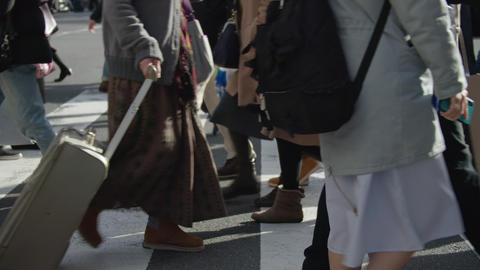 SlowMotion - Peoples walking on a crosswalk Tokyo Shinjuku FIX SideView Sunny GIF