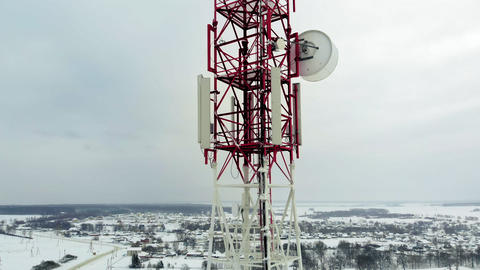 Tower with antennas and cymbals cellular, wireless. Copter shoot Footage