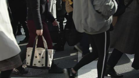 SlowMotion - Peoples walking on a crosswalk Tokyo Shinjuku FIX SideView Sunny ビデオ