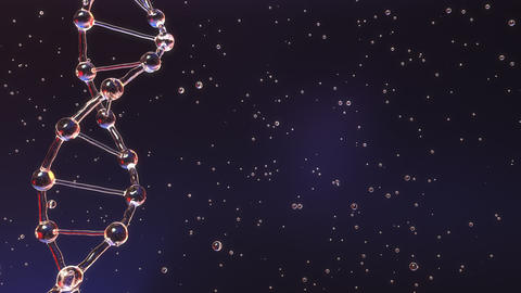 Transparent DNA molecule and floating particles ビデオ