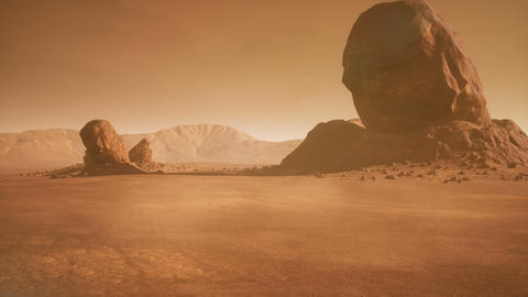 Panoramic landscape on the surface of Mars. Realistic cinematic animation Animation