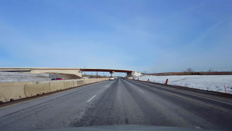 Driving Highway With Roadside Snow in Day. Driver Point... Stock Video Footage