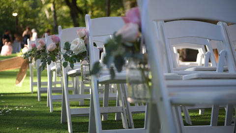Wedding ceremony on nature in green park. Decorations for wedding ceremony Live Action