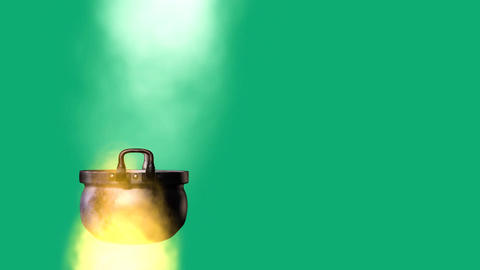 animated cooking pot on a fire, on green background Animation