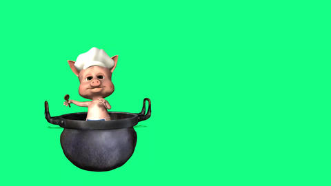 animated 3d cartoon cook piggy invites people to his cafe or restaurant Animation