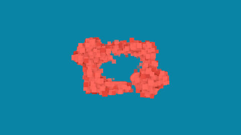 Behind the squares appears the symbol retweet. In - Out. Alpha channel Animation
