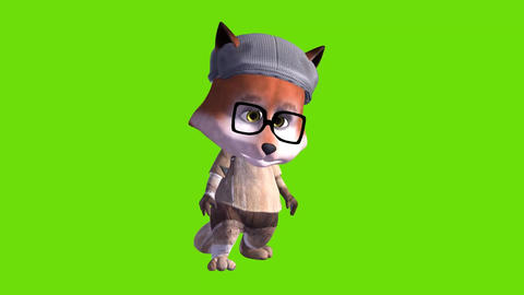 animated 3d funny cartoon drunk foxy on green background Animation