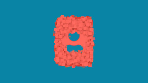 Behind the squares appears the symbol portrait. In - Out. Alpha channel Animation