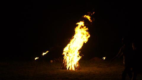 A large bonfire burns in the night, Russian folk traditions ビデオ