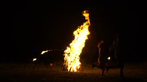 A large bonfire burns in the night, Russian folk traditions Footage