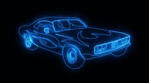 Blue Burning Muscle Car Animated Logo Loop Graphic Element Animation