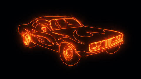 Orange Burning Muscle Car Animated Logo Loop Graphic Element Animation