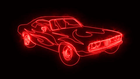 Red Burning Muscle Car Animated Logo Loop Graphic Element Animation