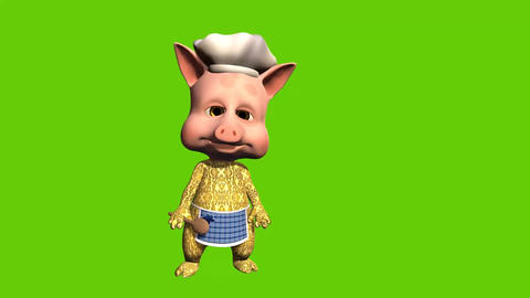 3d animated cartoon of piggy chef who invites customers to restaurant or cafe Animation