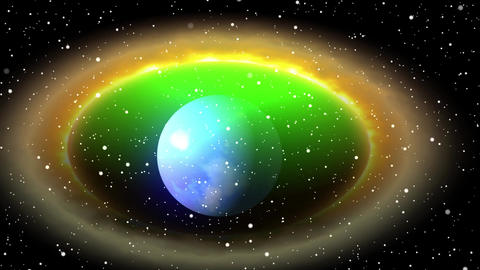 animation of blue planet in a circle of coloured gas Animation