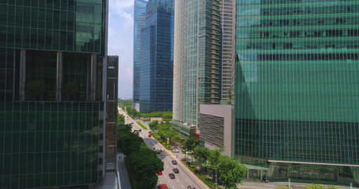 Crossroads in the business center of Singapore Footage