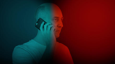 Bald man speaking and hearing mobile phone. oloring video like 3D glass Footage