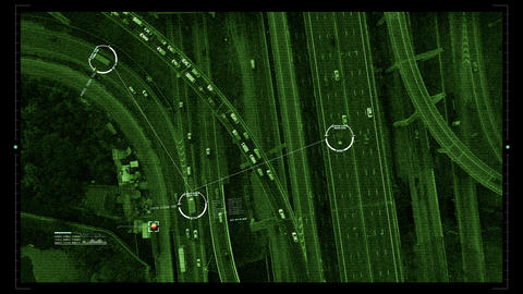 Futuristic Satellite Surveillance HUD Animation