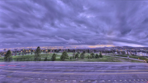 Time-lapse fisheye shot of Utah city at sunset Footage