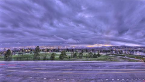 Time-lapse fisheye shot of Utah city at sunset Footage