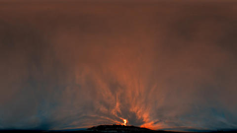 Time-lapse fisheye shot of the sunset and sky over the mountain in Utah with len Footage