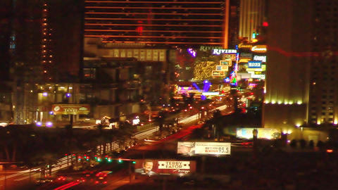 Static time-lapse shot of Las Vegas at night Footage