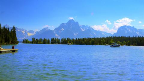 Time-lapse shot of boats on Jackson Lake Marina in Wyoming Footage