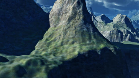 Majestic aerial view of flying over a rugged mountainous terrain Footage