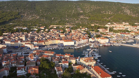 Aerial - City of Cres, Croatia. Small Adriatic town with marina Footage