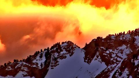 Aerial shot of snow-covered mountain range in Utah Footage
