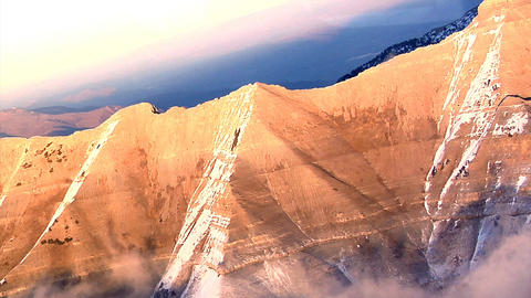 Aerial shot of snow-capped mountains in Utah Footage
