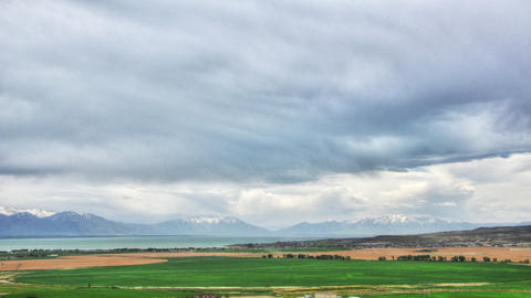 Time-lapse shot of Utah valley on a rainy day Footage