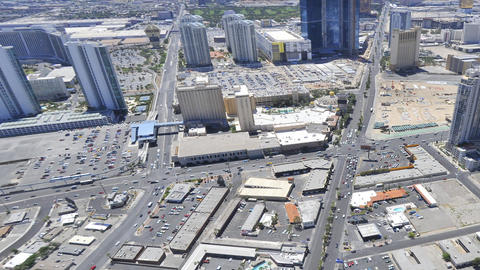 Timelapse view of Las Vegas from the top of the Stratosphere Hotel to the city f Live Action