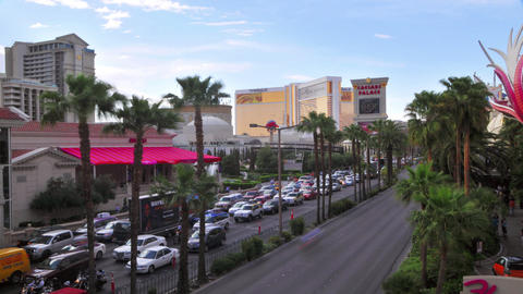 Static view of sped up traffic on Las Vegas Boulevard Footage