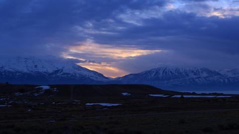 Panning time-lapse shot of Utah mountain range at sunset Footage