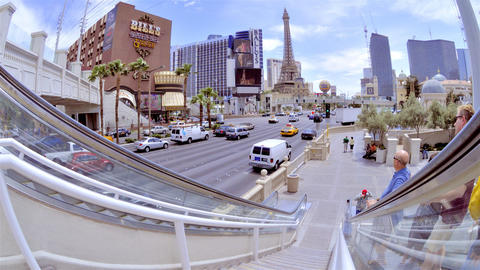 Fisheye view from the top of a street escalator on Las Vegas Boulevard Footage