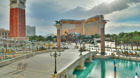 A sped up cropped shot of the venitian brige in Las Vegas, Nevada throughout the Footage