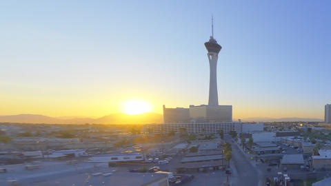 sped-up panning shot of the stratosphere tower in las vegas Live Action