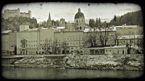 Pan of old town Salzburg. Vintage stylized video clip Footage