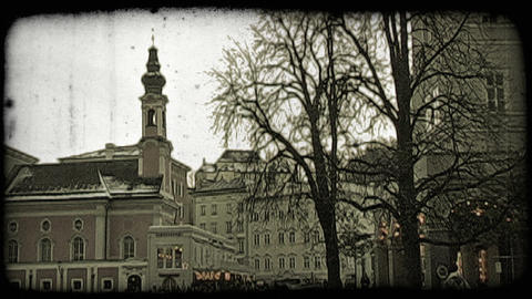 Street of Salzburg at dusk. Vintage stylized video clip Footage
