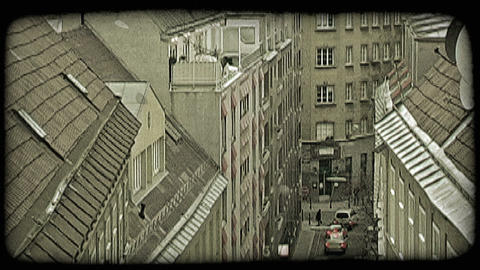 Vienna buildings and street. Vintage stylized video clip Footage