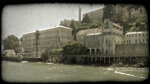 Alcatraz station 1. Vintage stylized video clip Footage