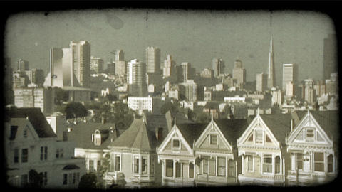 Alamo Square 4. Vintage stylized video clip Footage