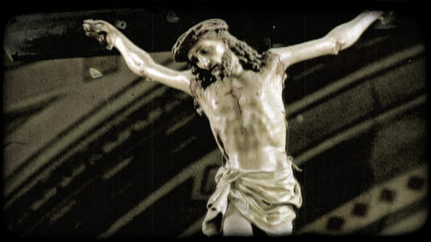 Christ on Cross. Vintage stylized video clip Footage