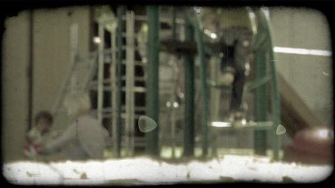 Boy runs to playground. Vintage stylized video clip Footage