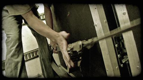 Man tightens belt. Vintage stylized video clip Footage