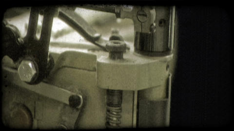 Heavy duty sewing machine. Vintage stylized video clip Live Action